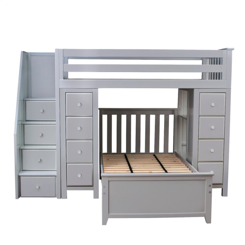 Twin Bed With Storage.All In One Staircase Loft Bed Storage Storage Twin Bed Grey