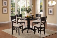 5-Piece Pack Dinette Set Table: 42Dia x 30H Chair: 18.75 x 20.5 x 36H