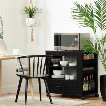 Microwave Cart on Wheels with Shelves and Drawer - Black Oak