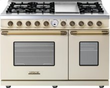 Range DECO 48'' Classic Cream matte, Bronze 6 gas, griddle and 2 electric ovens