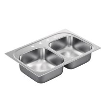 "1800 Series 33""x22"" stainless steel 18 gauge double bowl drop in sink"