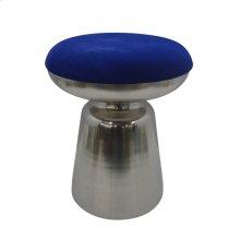 "Metal 18"" Cylinder Silver Stool, Blue Cushion"