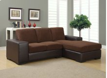 SOFA LOUNGER - DARK BROWN CORDUROY / BROWN LEATHER-LOOK