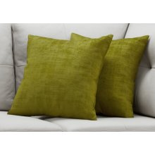 "PILLOW - 18""X 18"" / LIME GREEN BRUSHED VELVET / 2PCS"