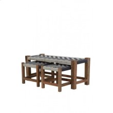 Couch S/3 max 99x40x43 cm PHEDA grey-white-wood natural