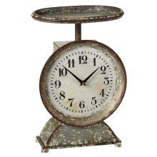 Distressed White Decorative Scale Desk Clock.