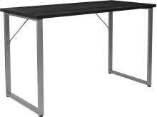 Harvey Black Finish Computer Desk with Silver Metal Frame