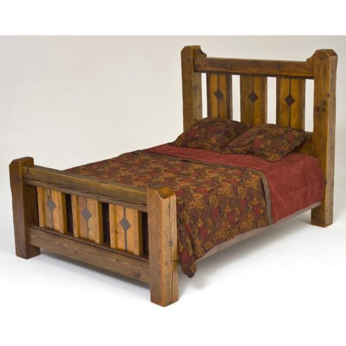Mustang Canyon Deluxe Bed With Inlaid Panels - 10469 - Queen Bed (complete)