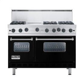 """Black 48"""" Open Burner Commercial Depth Range - VGRC (48"""" wide, six burners 12"""" wide griddle/simmer plate)"""