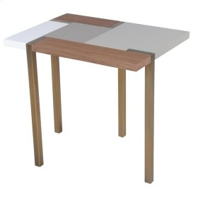 Fenno KD End Table Brushed Brass Legs, White/Gray/Walnut