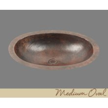 Solid Copper Oval Lavatory - Light Hammertone - Dark
