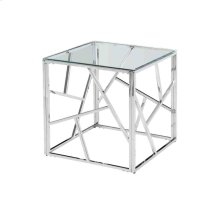 Modern Silver/glass Accent Table, Kd