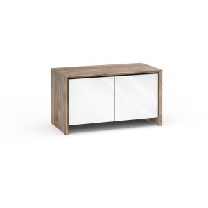 Salamander DesignsBarcelona 221, Twin-Width AV Cabinet, Natural Walnut with White Gloss Doors