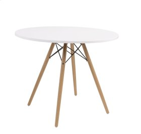 "Annette - Complete Table-round White Top 40""&wood Legs-metal Struts"