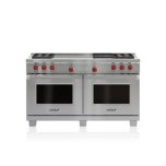 """WOLF60"""" Dual Fuel Range - 4 Burners, Infrared Charbroiler and French Top"""