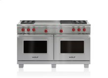 """60"""" Dual Fuel Range - 4 Burners, Infrared Charbroiler and French Top"""