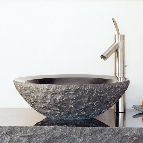 Chiseled Beveled Round Sink Black Granite