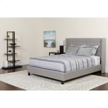 Riverdale Twin Size Tufted Upholstered Platform Bed in Light Gray Fabric