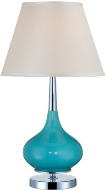 Table Lamp, Chrome/turquoise Ceramic/white, E27 Cfl 23w
