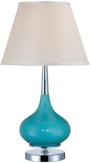 Table Lamp, Chrome/turquoise Ceramic/white, E27 Cfl 23w