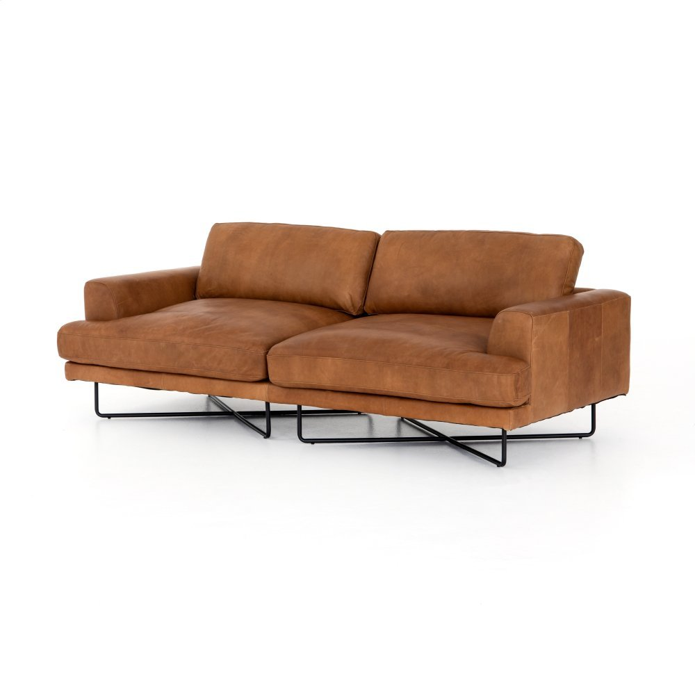"""Patina Copper Leather Cover Miller Sofa-80"""""""