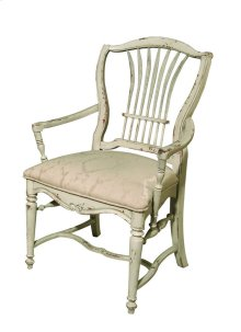 Wheat Arm Chair with Upholstered Seat