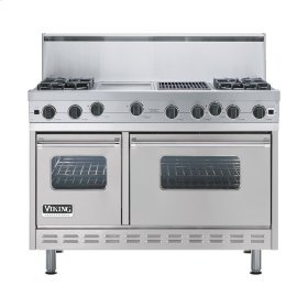 "Metallic Silver 48"" Open Burner Range - VGIC (48"" wide, four burners 12"" wide griddle/simmer plate 12"" wide char-grill)"
