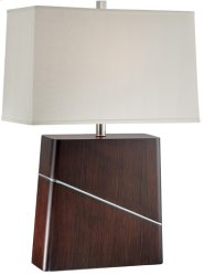 Table Lamp, Dark Walnut/off-white Fabric Shade, E27 Cfl 23w Product Image