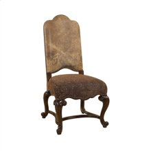 DARK ANTIQUE LIDO FINISHED SID E CHAIR, RAGTIME LEATHER AND P AISLEY UPHOLSTERY