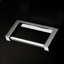 Wall-mount toilet paper holder made of chrome plated brass.