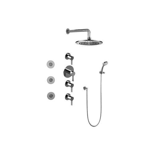 Contemporary Round Thermostatic Set w/Body Sprays & Handshower