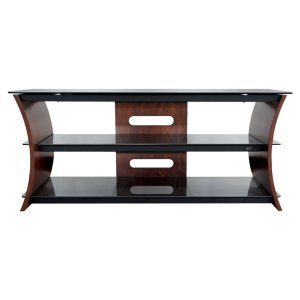 Caramel Brown Finish Curved Wood Audio/Video Furniture