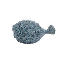 """Ceramic Blowfish 10"""", Blue"""