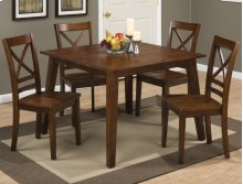 Simplicity Caramel Square Dining Table With Four X Back Dining Chairs