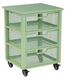 Clayton 3 Drawer Rolling Cart In Green Metal Finish Frame, Fully Assembled. Product Image