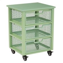 Clayton 3 Drawer Rolling Cart In Green Metal Finish Frame, Fully Assembled.