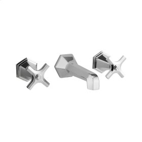 Waldorf Crosshead Wall Mounted Widespread Lavatory Faucet Trim - Polished Nickel