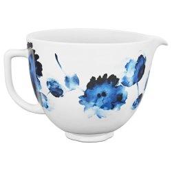 5 Quart Patterned Ceramic Bowl - Ink Watercolor