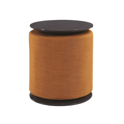 Transitional Orange and Grey Accent Table and Ottoman