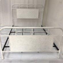King Metal Bed - Antique White