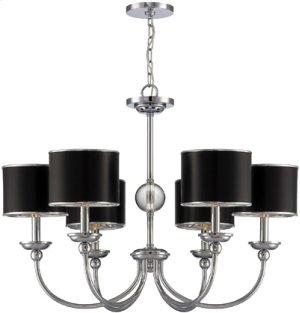 6-lite Ceiling Lamp, Chrome/black Paper Shade, E12 B 40wx6