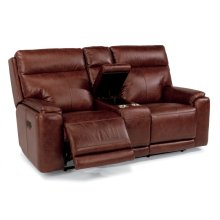 Sienna Leather Power Reclining Loveseat with Console and Power Headrests