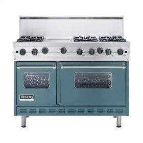 """Iridescent Blue 48"""" Open Burner Commercial Depth Range - VGRC (48"""" wide, six burners 12"""" wide griddle/simmer plate)"""