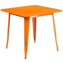 31.5'' Square Orange Metal Indoor-Outdoor Table