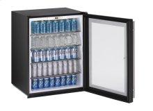 "24"" ADA Glass Door Refrigerator Black Frame (Lock) Field Reversible (Lock)"