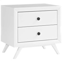 Tracy Upholstered Fabric Wood Nightstand in White