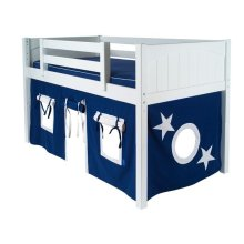 Under Bed Curtain : Blue/White