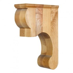 "3-3/8"" x 8"" x 11-3/4"" Hand-Carved Wood Corbel with Smooth Surface Design, Species: Rubberwood"