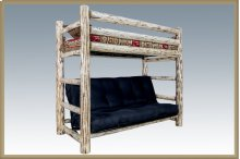 Montana Log Twin Bunk Bed over Full Futon
