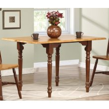 DLU-TLD3448-NLO  Drop Leaf Dining Table  Nutmeg with Light Oak Top